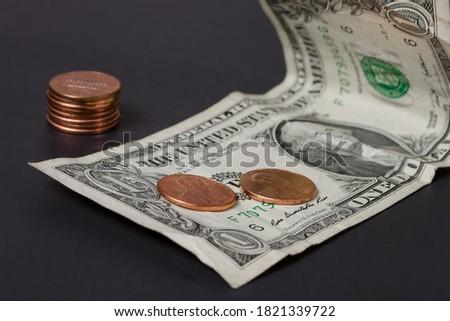 One dollar bill and pennies Zdjęcia stock ©