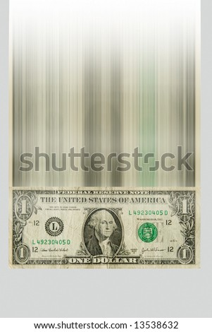 One dollar bill falling down at large speed