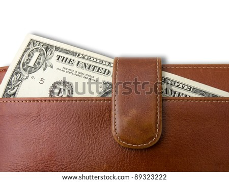 One dollar bill in  brown leather bag on white background