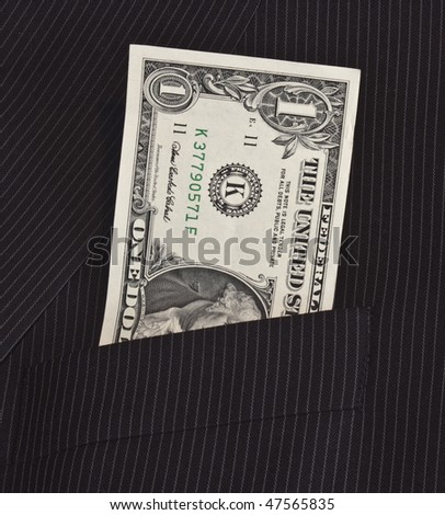 one dollar bill in suit pocket