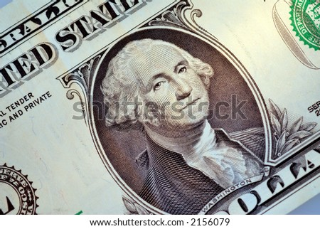 one dollar bill with the portrait of George Washington the first president of the United States of America