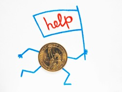 One dollar coin lies on sheet of white paper. Hands and feet are drawn with pencil, runs with flag on which the word help is written. Illustration about government support and public assistance in US