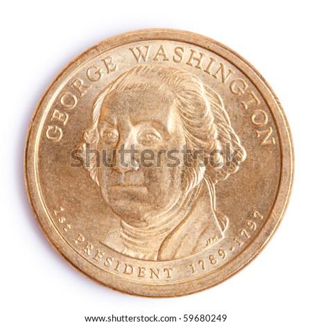 one dollar coin with george washington