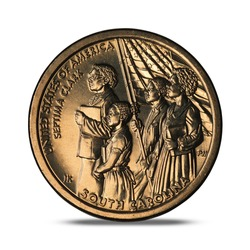One dollar commemorative coin on white background
