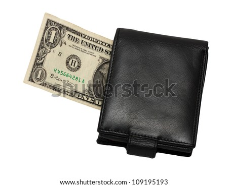 one dollar in your wallet on a white background - stock photo
