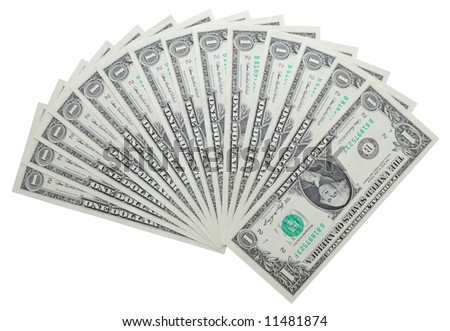 One dollar notes isolated over white background with clipping-path