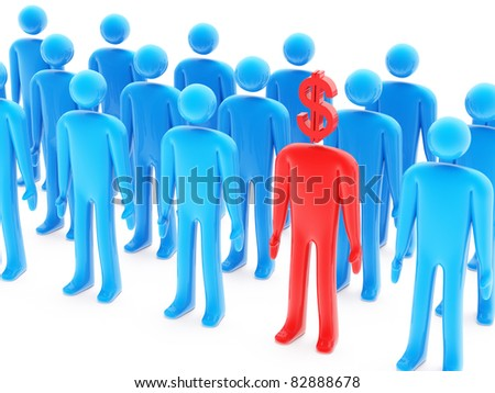 One dollar-shaped red figure between many blue peoples on white background