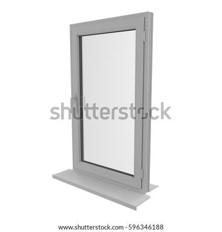 One door plastic window isolated on white. 3D illustration #596346188
