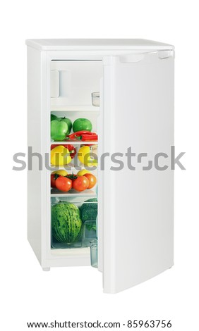 One door refrigerator isolated on white