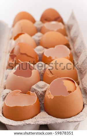 One dozen cracked eggs