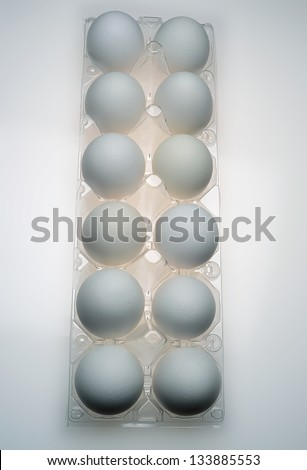 one dozen eggs in carton - stock photo
