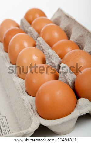 One dozen of brown eggs in a gray carton on white