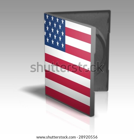 One DVD or CD case with printed American flag