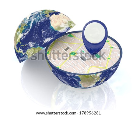 one earth globe divided into two parts, with a gps map and pin; concept of travel and new technologies;Elements of this image furnished by NASA  (3d render)