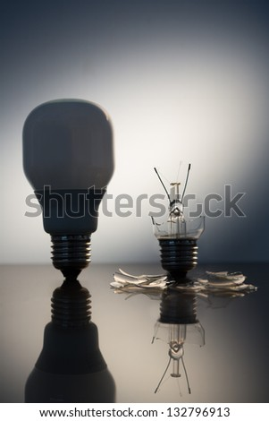 One economic bulb standing next to a broken clear light bulb on reflective surface