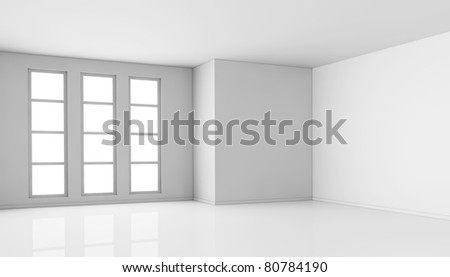 one empty bright  room with three big windows. the room is all white with no textures (3d render)