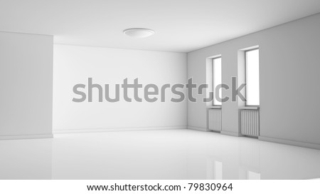 one empty bright  room with two windows. the room is all white with no textures (3d render)
