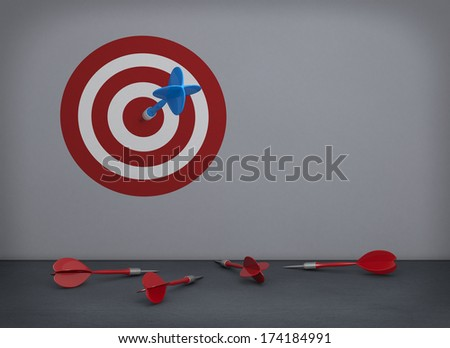 one empty room with a target printed on the wall, a dart on the center and some other darts on the floor (3d render)
