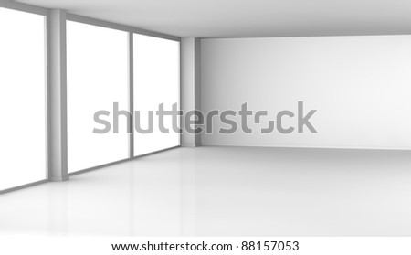 one empty room with big windows (3d render)