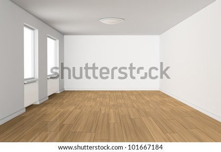 one empty room with two windows and a wooden floor (3d render)