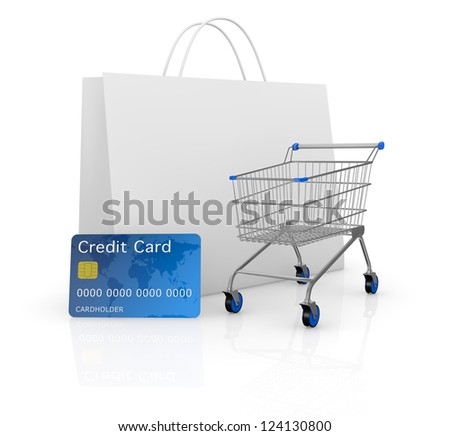 one empty shopping cart with a credit card and a shopping bag (3d render)
