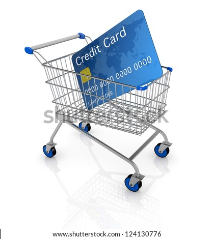 one empty shopping cart with a credit card (3d render)