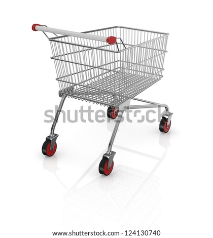 one empty shopping cart with red wheels (3d render)