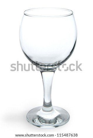 One empty wine glass isolated on white