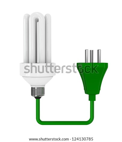 one energy saving bulb with a green electric plug (3d render)