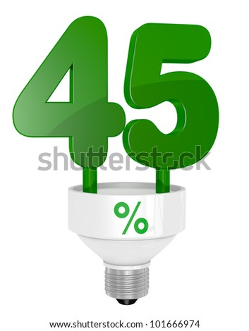 one energy saving light bulb with the number forty five instead of the pipe (3d render)
