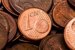 One Euro Cent coin, close up Macro Shot