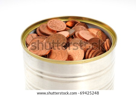 One Euro-cent coins in a tin can