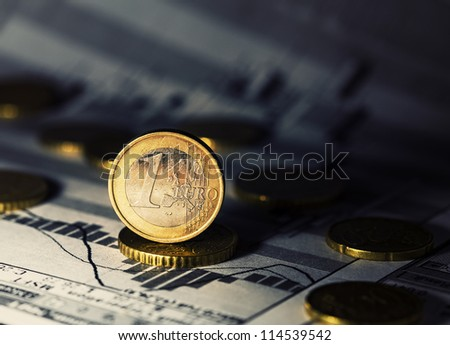One Euro coin. Finance system concept.