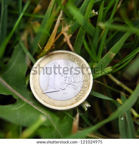 One euro coin in the grass
