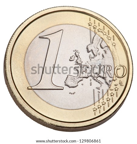 One Euro coin, isolated on a white background