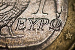 One euro coin  macro photo