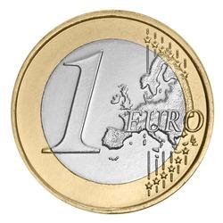 One euro coin on white