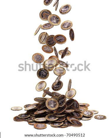 One euro coins falling on white background.