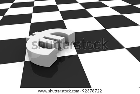 one euro symbol and a chessboard; concept of challenge (3d render)
