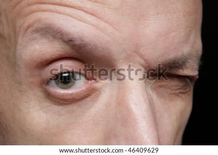 one eye of man close up