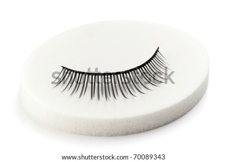 one false eyelashes on white sponge