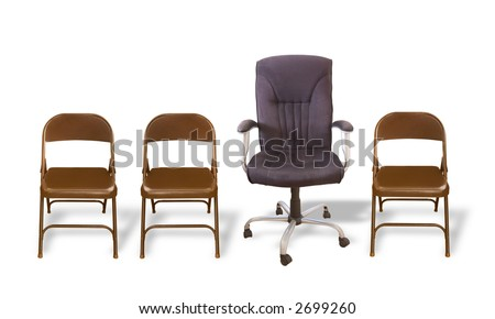 One fancy office chair in a row of folding chairs.