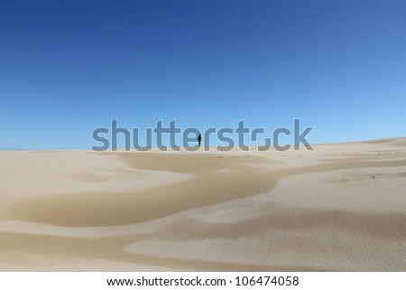 one figure standing on sand dune