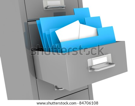 one file drawer with a drawer open and some folders with documents (3d render)
