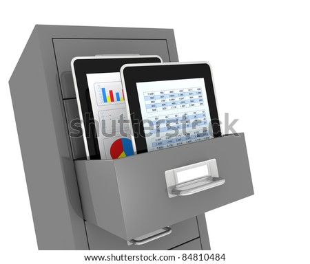 one file drawer with two portable devices, concept of electronic organize and archive of data (3d render)