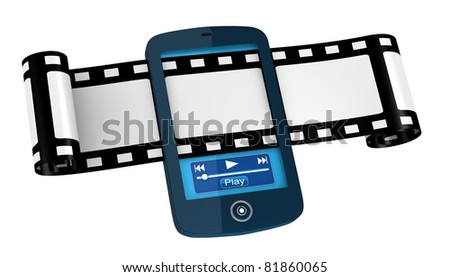 one film strip passing across a cellphone (3d render)