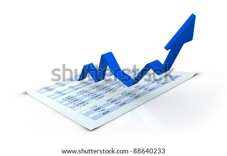 one financial chart growing with a spreadsheet under it (3d render)