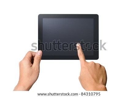 one finger touches the screen touchpad pc, isolated on white background