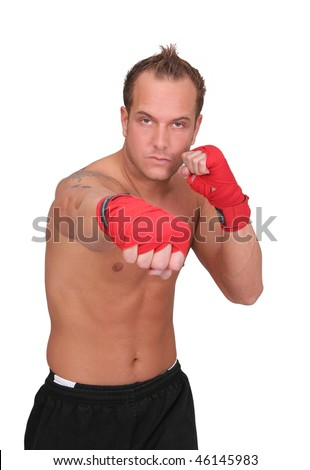 one fit man boxing with red gloves half length portrait isolated over white