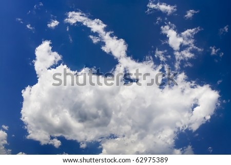 One fluffy cloud view from below